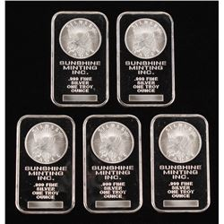 Lot of (5) 1 Ounce .999 Fine Silver Sunshine Minting Bullion Bar