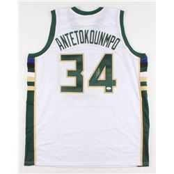 "Giannis Antetokounmpo Signed Milwaukee Bucks ""Greek Freak"" Jersey (JSA COA)"