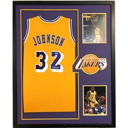 Magic Johnson Signed 34x42 Custom Framed Jersey (PSA Hologram)