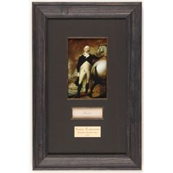 George Washington 10.25x15.75 Custom Framed Cut Display with (1) Hand-Written Word from Letter (PSA