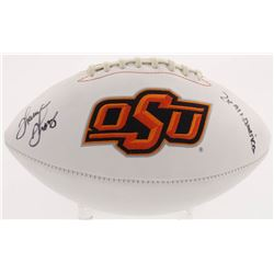 "Thurman Thomas Signed Oklahoma State Cowboys Logo Football Inscribed ""2x All American"" (Radtke COA)"