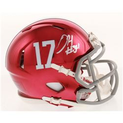 Damien Harris Signed Alabama Crimson Tide Chrome Speed Mini-Helmet (Radtke COA)