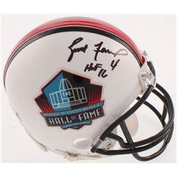 """Brett Favre Signed Pro Football Hall of Fame Mini Helmet Inscribed """"HOF 16"""" (Radtke COA)"""