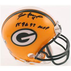 """Brett Favre Signed Green Bay Packers Mini-Helmet Inscribed """"95 96 97 MVP"""" (Radtke COA)"""