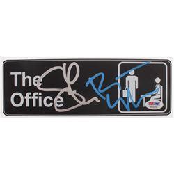 "Rainn Wilson  Steve Carell Signed ""The Office"" Replica Door Sign (PSA COA)"