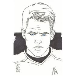 "Tom Hodges - Captain Kirk - Chris Pine - ""Star Trek"" Signed ORIGINAL 5.5"" x 8.5"" Drawing on Paper (1"