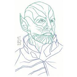 """Tom Hodges - Skrull - Marvel Signed ORIGINAL 5.5"""" x 8.5"""" Drawing on Paper (1/1)"""