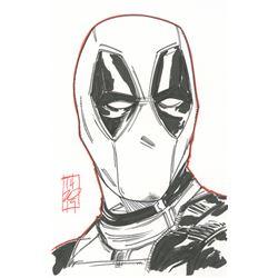 "Tom Hodges - Deadpool - Marvel Comics - Signed ORIGINAL 5.5"" x 8.5"" Drawing on Paper (1/1)"
