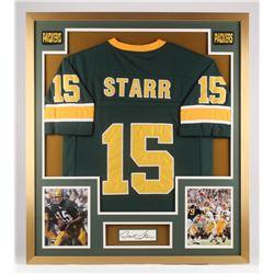 Bart Starr Signed 32x36 Custom Framed Cut Display (PSA LOA)
