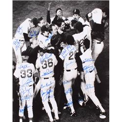 1986 Boston Red Sox AL Champs 16x20 Photo Signed by (22) with Wade Boggs, Dwight Evans, Bill Buckner