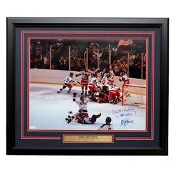 """Mike Eruzione Signed Team USA """"Miracle on Ice"""" 22x27 Custom Framed Photo Display Inscribed """"Do You B"""