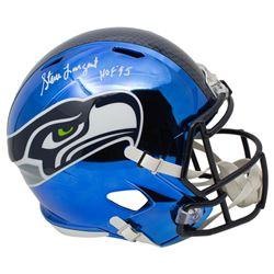 """Steve Largent Signed Seattle Seahawks Full-Size Chrome Speed Helmet Inscribed """"HOF 95"""" (JSA COA)"""