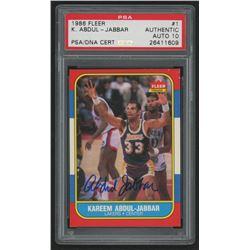 Kareem Abdul-Jabbar Signed 1986-87 Fleer #1 (PSA Encapsulated - Autograph Graded 10)