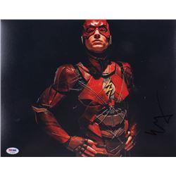 "Ezra Miller Signed ""Justice League"" 11x14 Photo (PSA COA)"