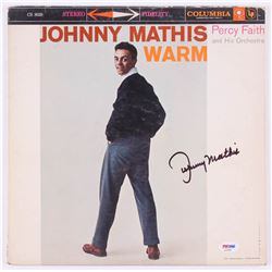 """Johnny Mathis Signed """"Warm"""" Record Cover (PSA COA)"""