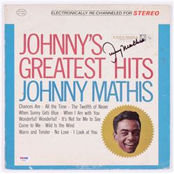 """Johnny Mathis Signed """"Johnny's Greatest Hits"""" Record Cover (PSA COA)"""
