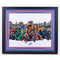 "Stan Lee Signed ""Marvel"" 22x26 Custom Framed Photo Display (JSA COA)"
