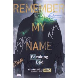 """Breaking Bad"" 12x18 Photo Signed by (9) with Bryan Cranston, Aaron Paul, RJ Mitte, Betsy Brandt, Bo"