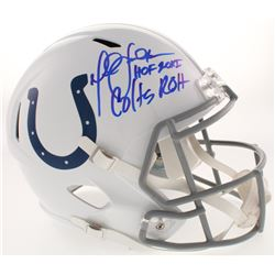 "Marshall Faulk Signed Indianapolis Colts Full-Size Speed Helmet Inscribed ""HOF 20XI""  ""Colts ROH"" (B"