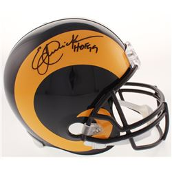 "Eric Dickerson Signed Los Angeles Rams Full-Size Throwback Helmet Inscribed ""HOF 99"" (Beckett COA)"