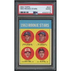 1963 Topps #537 Rookie Stars / Pete Rose RC (PSA 2)