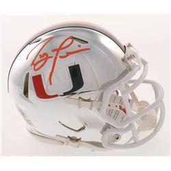 Ray Lewis Signed Miami Hurricanes Chrome Mini Speed Helmet (Beckett COA)