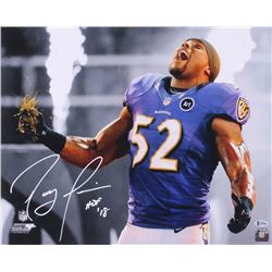 """Ray Lewis Signed Baltimore Ravens 16x20 Photo Inscribed """"HOF '18"""" (Beckett COA)"""