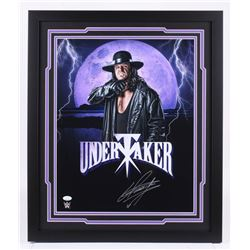 The Undertaker Signed WWE 22x26 Custom Framed Photo Display (JSA COA)