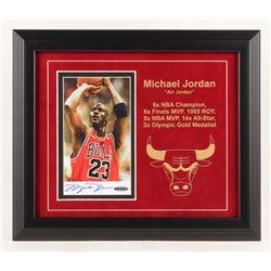 Michael Jordan Signed Chicago Bulls 14.25x16.5 Custom Framed Photo Display (JSA LOA  UDA Hologram)