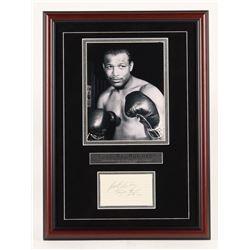"Sugar Ray Robinson Signed 16x22 Custom Framed Card Display Inscribed ""Best Wishes"" (JSA LOA)"