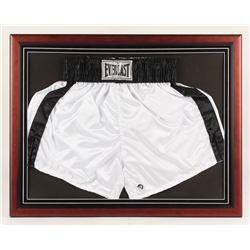 Muhammad Ali Signed 22.25x28.25 Custom Framed Trunks Display (JSA LOA)