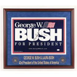 George W. Bush  Laura Bush Signed 22x26 Custom Framed Photo Display (JSA LOA)