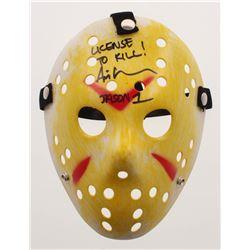 """Ari Lehman Signed Jason """"Friday the 13th"""" Mask Inscribed """"License to Kill!"""" (Beckett COA)"""