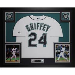 Ken Griffey Jr. Signed 35x43 Custom Framed Jersey (Beckett COA  TriStar Hologram)