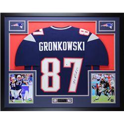 "Rob Gronkowski Signed 35"" x 43"" Custom Framed Jersey (Beckett COA)"