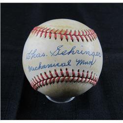 """Charlie Gehringer Signed OAL Baseball Inscribed """"Mechanical Man"""" (JSA LOA)"""