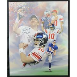 "Eli Manning Signed New York Giants 32x40 Print on Canvas Inscribed ""SB XLII XLVI MVP"" (JSA Hologram)"