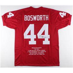 Brian Bosworth Signed Career Highlight Stat Jersey (JSA COA)