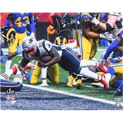 Sony Michel Signed New England Patriots Super Bowl Llll 16x20 Photo (Beckett COA)