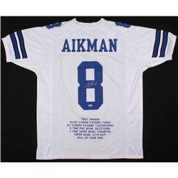 Troy Aikman Signed Career Highlight Stat Jersey (Beckett COA)