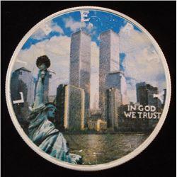"""2001 American Eagle Silver """"9 /11 Commemorative"""" Colorized Dollar $1 Coin"""