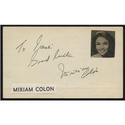 "Miriam Colon Signed 2.5x3.5 Cut Inscribed ""Good Luck"" (JSA COA)"