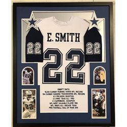 Emmitt Smith Signed 34x42 Custom Framed Career Highlight Stat Jersey (Beckett COA  PROVA Hologram)