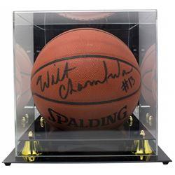Wilt Chamberlain Signed NBA Basketball with Display Case (Score Board COA)
