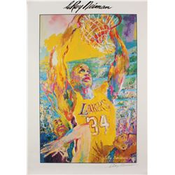 """LeRoy Neiman Signed Los Angeles Lakers """"Shaquille O'Neal"""" 27x39 Neiman Lithograph (JSA COA)"""