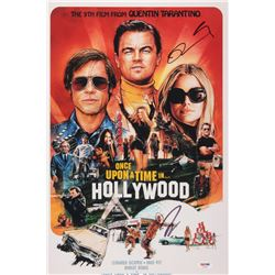 """Quentin Tarantino  Leonardo DiCaprio Signed """"Once Upon a Time in Hollywood"""" 12x18 Movie Poster Print"""