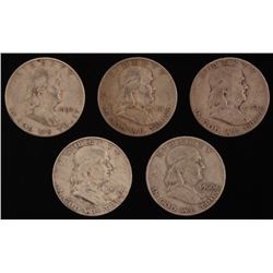 Lot of (5) Franklin Half Dollar Coins with 1951, 1952, 1954, 1960-D,  1963-D