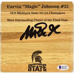 Magic Johnson Signed 6x6 Custom Engraved Wood Floorboard Piece (Beckett COA)