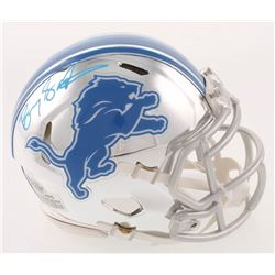 Barry Sanders Signed Detroit Lions Chrome Speed Mini Helmet (Beckett COA)