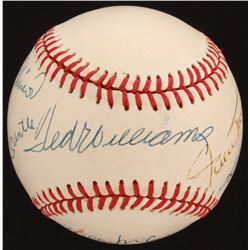 500 Home Run Club OAL Baseball Signed by (8) with Mickey Mantle, Ted Williams, Willie Mays, Ernie Ba